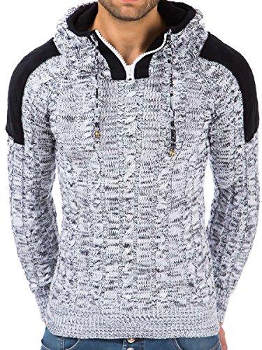 Pullover Herren Strickpullover Hoodie Winter Pulli Kapuze Tazzio Slim Fit Langarm Shirt Weiß