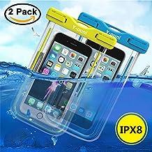 Y-ouni [2 Pack] Funda Bolsa Móvil Impermeable Universal 6 Pulgadas para iPhone 7, 7 Plus,6 / 6s Plus, SE 5S 5C, Samsung Galaxy S7/S7 Edge/S6/S6 Edge/Edge,Huawei p9 p8, Bq, LG, Xiaomi Android - Azul , etc.