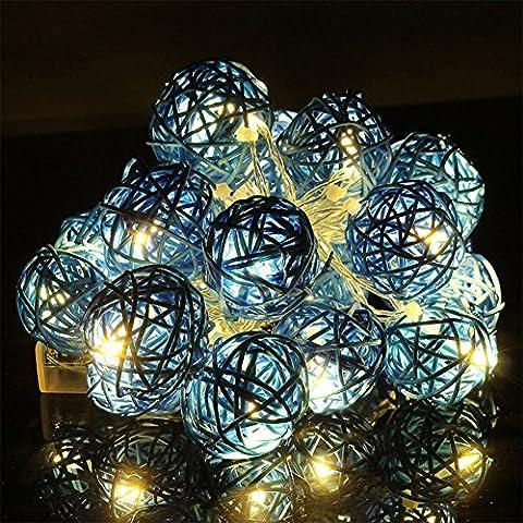 Happyit 3M 20pcs Led Rattankugel Lichterkette String Lights für Neujahr Weihnachts Dekoration Hochzeit Party Home Dekoration Lichter (Blau)