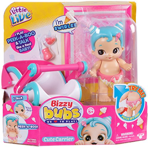 Little Live Bizzy Bubs 34731 - Baby Wirbelwind Swirlet , Babypuppe Wirbelchen für Kinder ab 5 Jahre, Puppe spricht und macht Kuckuck, Funktionspuppe mit Tragekorb und Zubehör, Püppchen ca. 13 cm