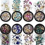 8 Stücke Gemischt Nagel Kunst Strass Flache Rückseite Bunte Diamanten Kristalle Perlen Edelsteine für Nail art Dekorationen DIY Design