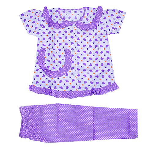 Light Gear Girls Knitted Cotton Sleepwear / Homewear (2 - 10 yrs) (3-4 years, Purple Blue)