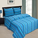 Cloth Fusion Bliss South Cotton Bed Sheet With 1 Pillow Cover - (Single, Blue)