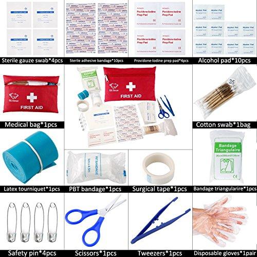 61KezwAq08L - GL Gear Portable Kit de Primeros Auxilios Medical Survival Bag, Mini Emergency Bag para Coche, hogar, Picnic, Camping, Viaje y Otras Actividades al Aire Libre (41 Piezas/Juego)