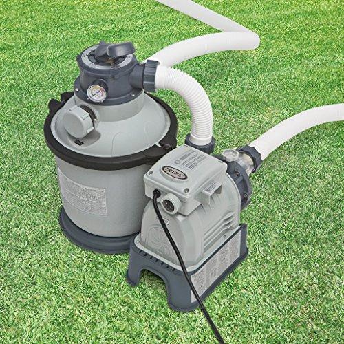 """Intex 28644GS Sandfilter, 4,0m³/h, Kessel Durchmesser 254 mm, 230 V, 190 W,12 kg Sand Timer, Anschlussschlauch mit 2""""AG, Wanddurchführung, Absperrhahn"""