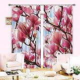 H&M Gardinen Vorhang Magnolia UV Schatten Tuch um EIN warmes Zuhause Dekor Schlafzimmerfenster 3D-Druck Vorhangstoff, Wide 3.2X high 2.7