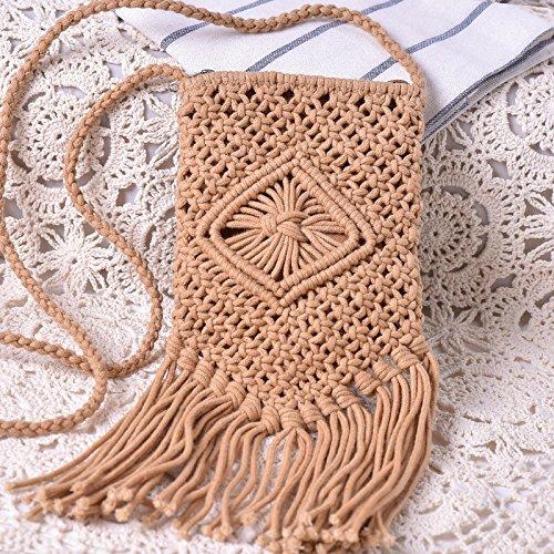 Otomoll Handgefertigte Cotton Linie Quasten Webart Weiblichen Schräge Tasche Schultertasche This mobile phone bag