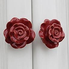 Indianshelf Handmade Ceramic Red Flower Drawer/Dresser Knobs -2 Piece (FCK-98)