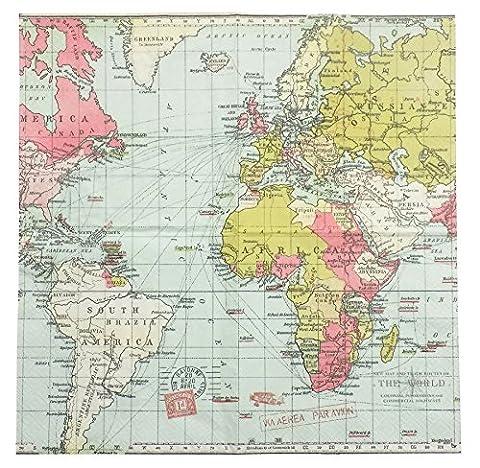 "WORLD MAP BLUE PINK GREEN 3-PLY 20 PAPER NAPKINS SERVIETTES 13""x13"