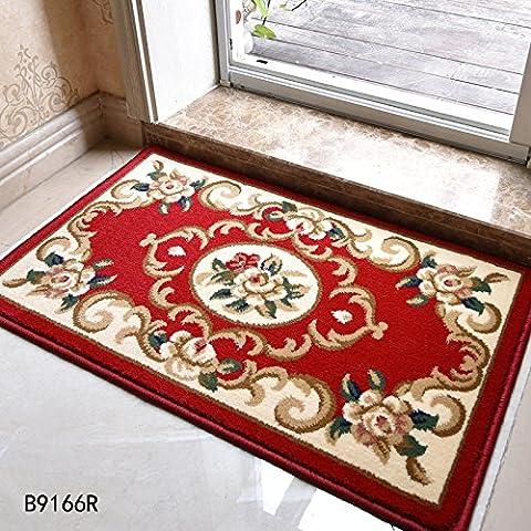 LINDONG-Tappetini continentale entrata foyer in famiglie per ammortizzare il portale celeste è non-slip B9166 Serie 0.5x0.8 ,50 m x 80 cm 530V,B9166R fiore rosso Flat