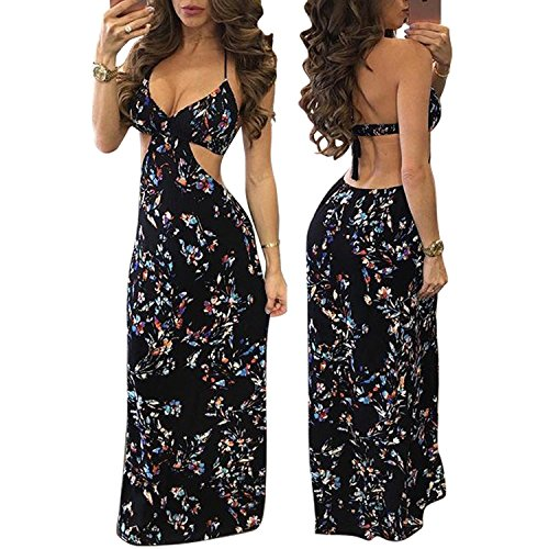 Gmp Printing Sleeveless Hanging Neck Sexy Floral Maxi Dress