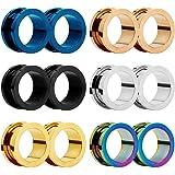 HuaCan, set di 12 piercing a vite in acciaio inox, 6 colori, a doppia svasatura, 6 mm-20 mm