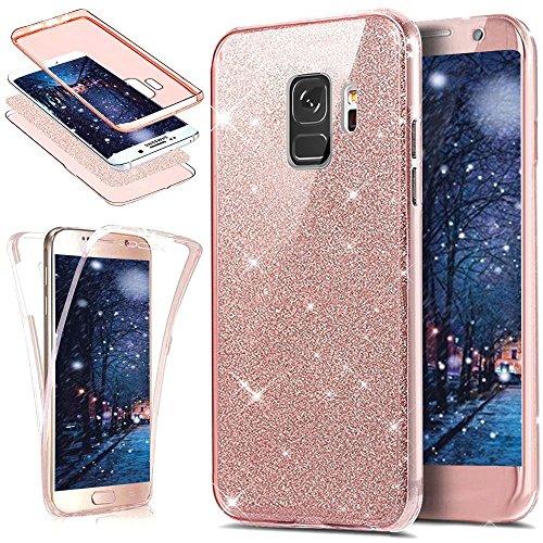 Preisvergleich Produktbild Galaxy S9 Hülle,Surakey Galaxy S9 Full Body 360 Grad TPU Silikon Crystal Case,Glänzend Glitzer Transparent Vorne Hinten Komplett Schutzhülle TPU Bumper Case Etui - Rose Gold
