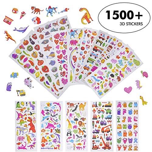 3D Verschiedene Puffy Stickerbögen- 3D Puffy Aufkleber Sticker für Kinder Kleinkind Stickeralbum Mädchen Jungen Kindergeburtstag Kinderzimmer Tier Dinosaurier Geschwollen Sticker Aufkleber Set,1500+ -