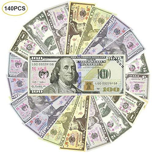 140 Prop Money - Full Print 2 Sided-Set Bills Spielgeld Filmspiel Realistisches Spielgeld Für Kinder, Studenten, Fernsehen / Film / Video / Party / Spiele / - Polizei Kostüm Streich