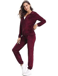 1593f0c7f4 Aibrou Damen Trainingsanzug, Hausanzug Velours Kapuzenpullover und Hose  Jogginganzug Sportbekleidung mit Reißverschluss Kordelzug Taschen