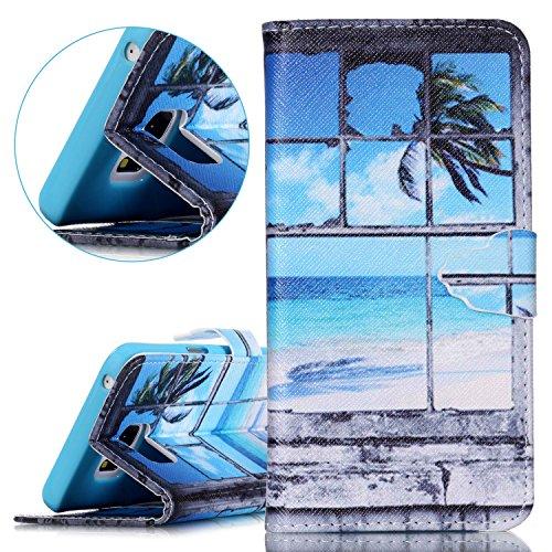 Custodia Apple iphone 5C Book Style design portafoglio Wallet CASO,Pelle PU Flip protettivo Pocket Case Cover per iphone 5C(retr¨° fiore) Il mare fuori dalla finestra