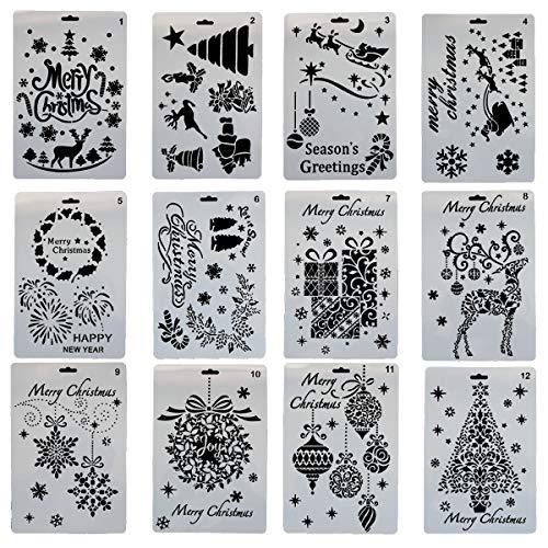 YXJD Stencil Pittura Bambini Stencil di Plastica per carta Stencil Disegno per Lavorazione Scrapbooking Accessori per Pittura Lavorazione Fai da te 12 pezzi 7 x 10 Pollici