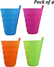 HOMIZE Sipper Cup Glasses with Straw for Kids, Baby, Toddlers, Pack of 4, Random Color