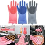 Luvina Magic Silicone Scrubbing Gloves, Scrub Cleaning Gloves with Scrubber for Dishwashing and Pet Grooming, Latex Free