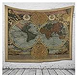 Mapa del Mundo Toalla De Decoración De Toallas De Playa De Viento Nacional Toalla De Algodón Tradicional Tapiz De Algodón, Tapiz De Pared, Paredes De Bohemia, Paño Colgante,B,150*200Cm