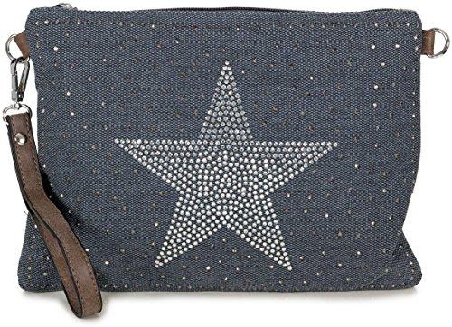 L&S Collection Stern Umhängetasche Canvas kleine Clutch Bag Abendtasche für Damen (27,5 x 20 x 2 cm) Blau