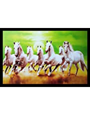PV Paintings Villa 7 Lucky Running Horses Vastu Painting for Home and Office (Wood, 50.8 x 1.3 x 35.6 cm, Multicolour)