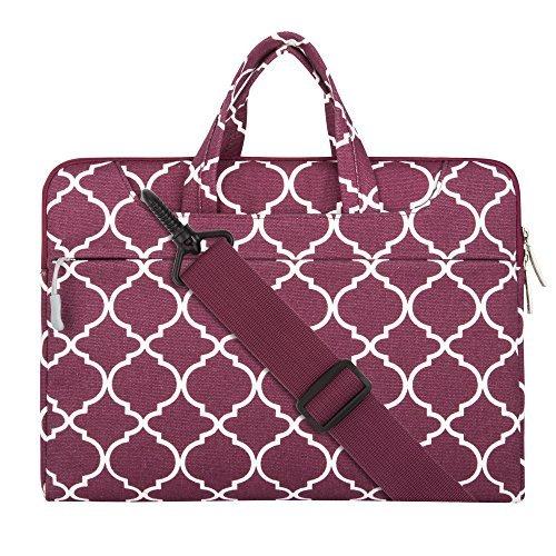 MOSISO Notebooktasche für 13-13,3 Zoll MacBook Pro, MacBook Air, Notebook Computer Quatrefoil Stil Laptop Schultertasche Sleeve Hülle mit Griff und Schulterriemen als Messenger Bag, Weinrot