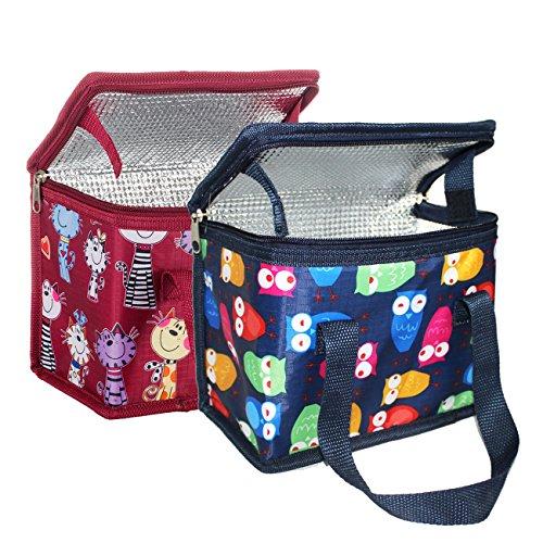 2 pièces Sac Repas Sac à Déjeuner Isotherme Imperméable Pliable Lunch Bag Organiseur de Voyage Polyester Chat Rouge et hibou Bleu