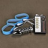 Genmine® Elektrischer Anal Plug mit Penisring Set Electro Penis Ring Elektrische Edelstahl Anal Plug aus 304 Edelstahl mit Fernbedienung für Männer, Elektrische Stimulation