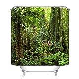 LB Dschungel Polyester Stoff Wasserdicht Bad Duschvorhang 3D Digitaldruck Badezimmer Dekorationen Kunstdruck 12 Haken(150x180cm)
