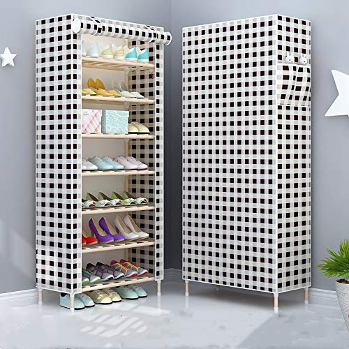 Qinqin666 7 Tier Shoe Rack Standing Shoe Furniture Storage Organizer Stand Adjustable Shelf Black and White Grid 65x30x155cm