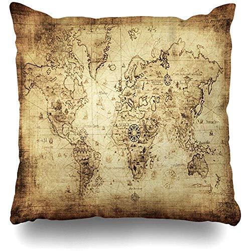 BK Creativity Pillowcase,Mapa Antiguo Antiguo Mundo Envejecido Vintage Antiguo América Atlas Europa...