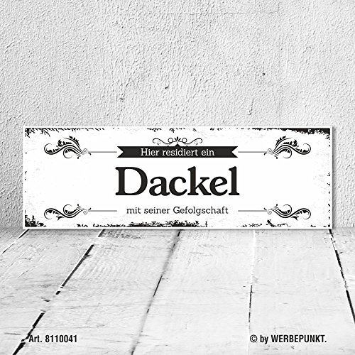 Schild Vintage Shabby Geschenk Holzschild Hundeschild Dackel Türschild -
