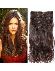 """22 """"Full Clip tete dans les extensions de cheveux Ombre Wavy Curly Dip Dye 7 Pcs Medium Brown"""