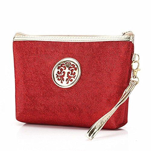 YAWEN Cosmetic Bag vela pacchetto solido di colore attraversato Piazza cerniera poliestere moderno semplice , red