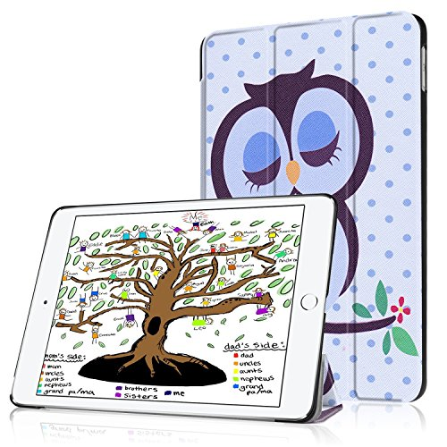 HBorna Hülle für iPad 9.7 Zoll 2018 2017, Smart Cover Case mit [Auto Schlaf/Wach] Dünn Superleicht Schutzhülle Hülle Tasche Standfunktion für New Apple iPad 9,7 2018/2017, Eulen-Baby