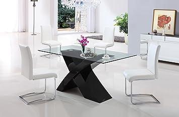 Tavolo da Pranzo Cucina Soggiorno in vetro e legno mdf - EGLEMTEK ...