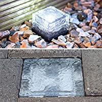 NEWNEN Solar Glass Ice Brick Lights Waterproof Solar Lights Lawn for Outdoor Lights Solar Garden Pack of 3