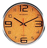 Actimn Stumm Wanduhr Einfache Persönlichkeit Wohnzimmer Schlafzimmer Metall Quarz Wall Clocks, Orange