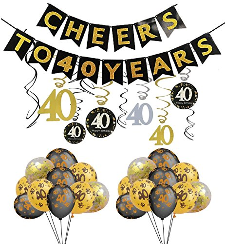 JaosWish 40-jähriges Geburtstags Party Dekorationen jubeln zu 40 Jahren Banner mit 40. Folie hängende Wirbel Zahl Drucken und Konfetti-Ballons Party Gefälligkeiten für Erwachsene