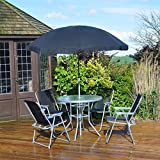 6 Piece Garden Furniture, Patio Set inc. Chairs, Table & Umbrella - Kingfisher - amazon.co.uk