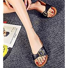 ZKOO Sandalias De Corcho Mujeres Vendaje Punta Abierta Zapato de Verano Chanclas De Playa Zapatillas Con Ajustable Hebilla