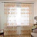 Mikolot Sonnenblume Garn Tüll Vorhang Living Fenster Vorhang Screening für Home Decor Beige