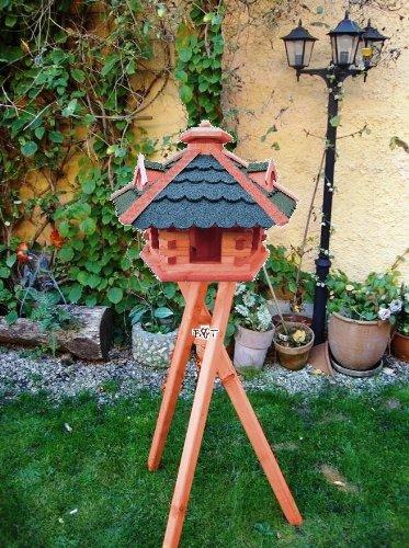 XXL Vogelhaus, Gartendeko , große Größen, auch mit vogelhausständer und Silo, ACHTUNG kein Bausatz von amazon oder zum Bemalen aus Holz, behandelt Futterhaus mit GRÜN moosgrün + GRAU Dach Schindel mit Silo + Ständer