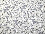 Floral bestickter Tüll Spitze Kleid Stoff, Meterware, Elfenbeinfarben