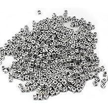 Mezclado 500PCS 6mm Granos de acrílico de la letra de plástico granos del espaciador del alfabeto colorido cubo para las pulseras DIY Collares Cadenas (plata)