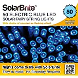 Solar Fairy Lights 50LED Blue Super Bright Decorative String, choice of light effect. Ideal for Trees, Gardens, Parties & More...