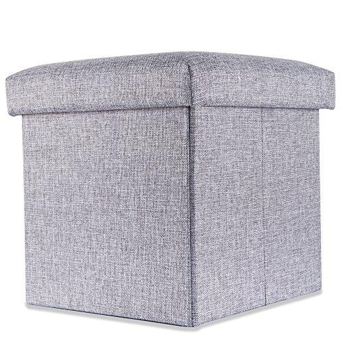 Intirilife – 38 x 38 x 38 cm Sitzhocker Aufbewahrungs-Box aus Stoff in Leinen-Optik und Dekopappe Faltbox Ordnungsbox Kiste mit Deckel in ALASKA-GRAU