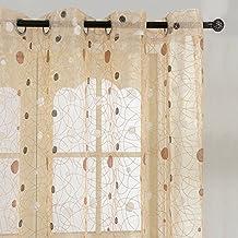 Top Finel tratamientos paneles transparentes cortinas de lunares de Nido de Pájaro ojales, solo panel, poliéster y mezcla de poliéster, Brown(Grommets), 140 x 245 cm